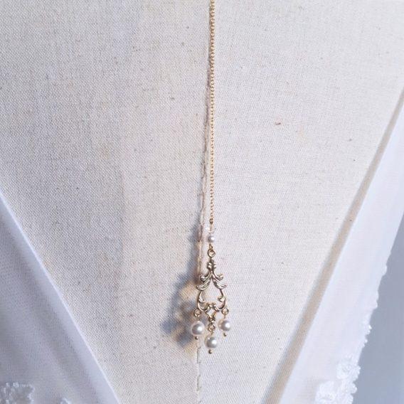 Athéna - Collier bijou de dos mariage avec perles swarovski