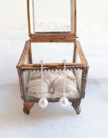 Agathe - Boucles d'oreilles mariage avec perles swarovski