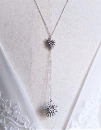 Étoile - Collier bijou de dos mariage - Boucles d'oreilles mariage - Parure mariage