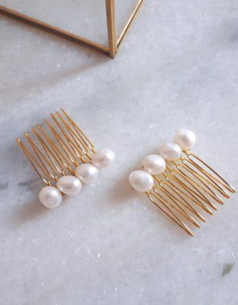 Alice - Set de 2 peignes mariage avec perles naturelles baroques