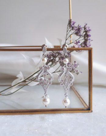 Agatha - Boucles d'oreilles mariage avec perles swarovski