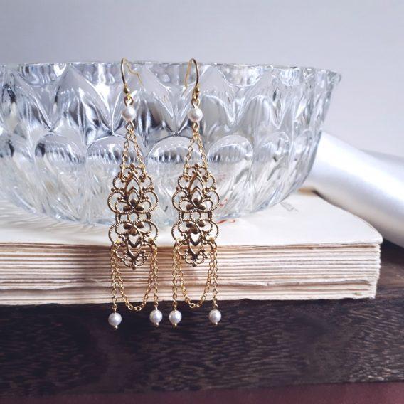 Anaïs - Boucles d'oreilles mariage avec perles swarovski