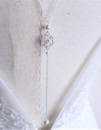 Elena - Collier de dos mariage avec perles swarovski