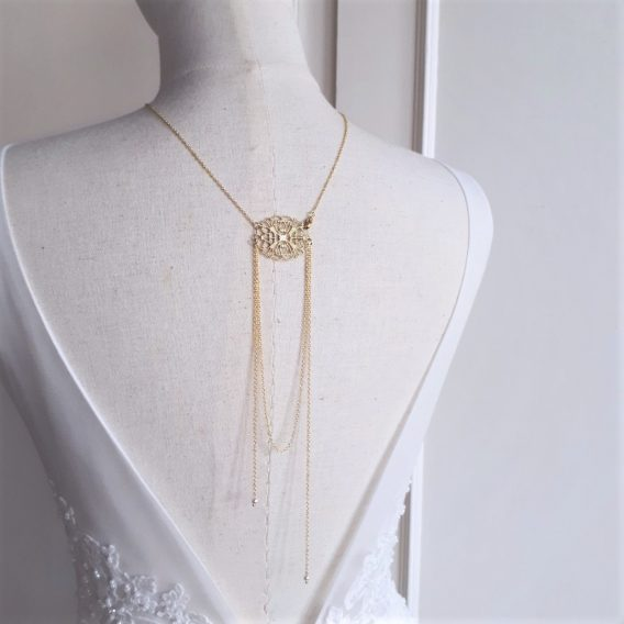 Iris 2 - Collier bijou de dos mariage avec perles swarovski