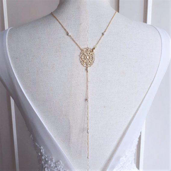 Iris - Collier bijou de dos mariage avec perles swarovski