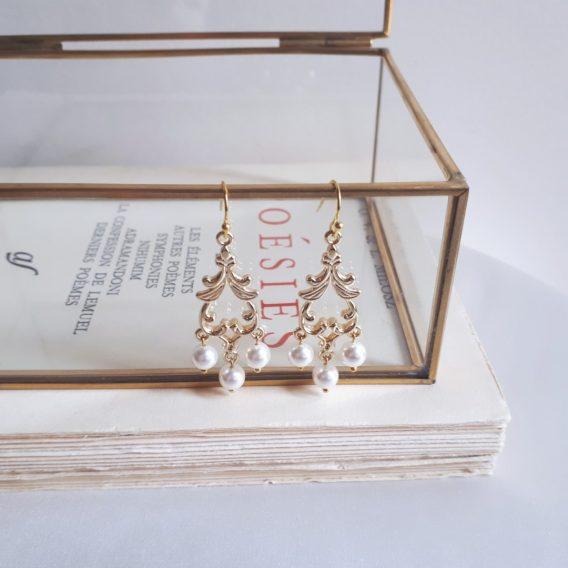 Athéna – Boucles d'oreilles mariage avec perles swarovski
