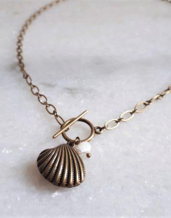 Coquillage - Collier ou Y Lariat bronze avec perle naturelle baroque