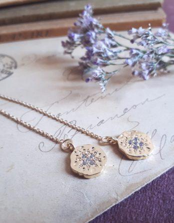 Lucia - Chaîne d'oreilles pendantes dorées et étoiles zirconium