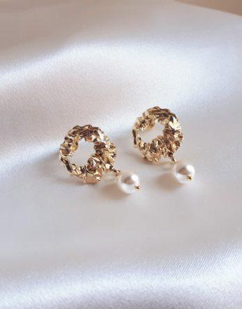 Salomé - Boucles d'oreilles dorées avec perles swarovski