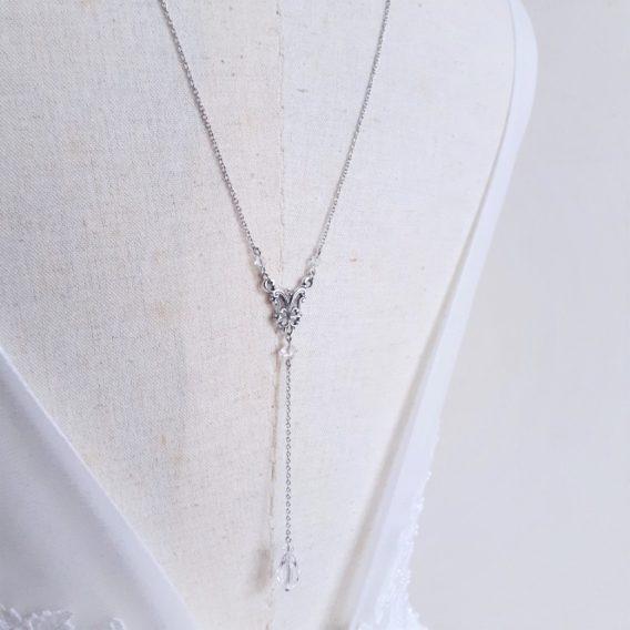 Lilas - Collier de dos mariage avec perles en cristal swarovski