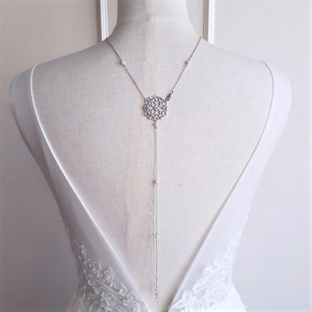 Emma - Collier bijou de dos mariage avec perles swarovski style vintage