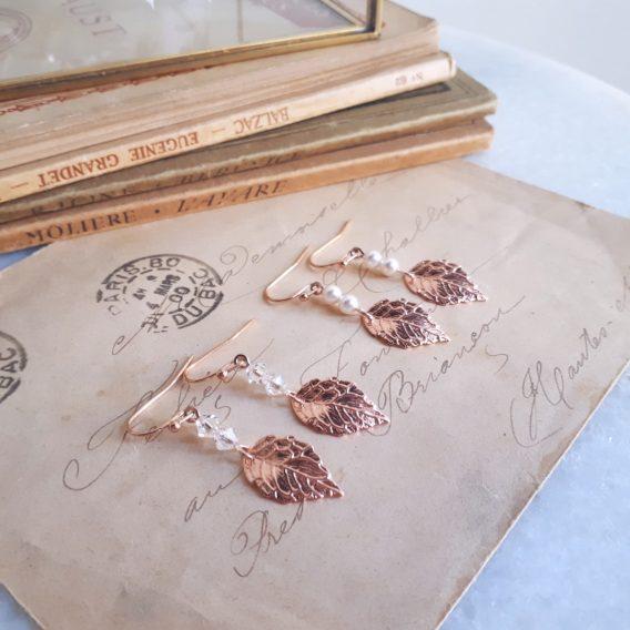 Nélia 2- Boucles d'oreilles demoiselles d'honneur avec perles swarovski