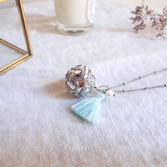 Étoile - Bola de grossesse plaqué argent vieilli avec collier acier inoxydable hypoallergénique