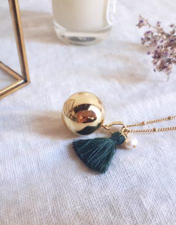 Lily - Bola de grossesse plaqué Or 18K avec collier acier inoxydable hypoallergénique