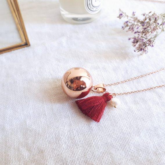Lilou - Bola de grossesse plaqué Or rose 18K avec collier acier inoxydable hypoallergénique