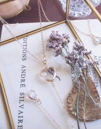 Mon cœur - Collier bijou de dos mariage doré champagne avec pendentif cœur