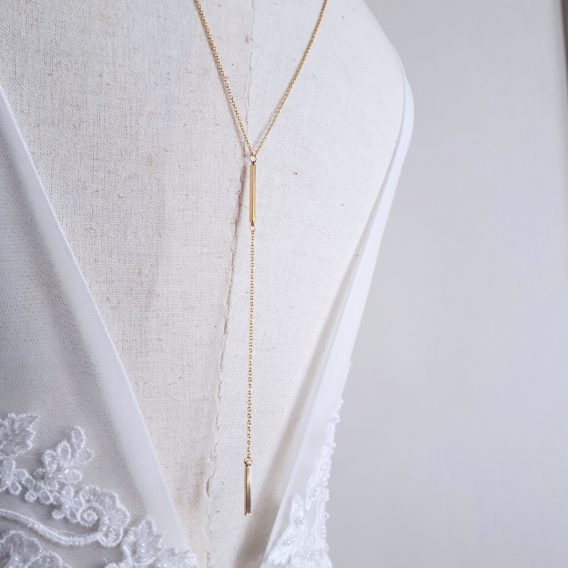 Zena - Collier bijou de dos mariage minimaliste, simple chic