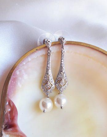 Mathilde - Boucles d'oreilles mariage style art déco avec perles swarovski et zircon