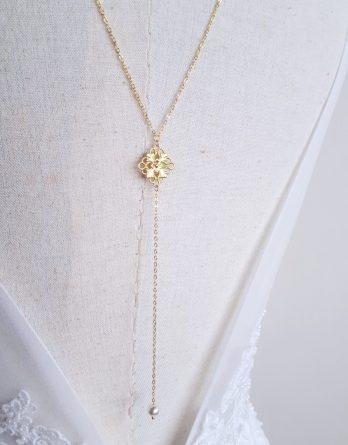 Novel - Collier de dos mariage simple chic avec perle swarovski