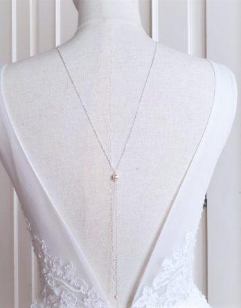 Lou - Collier de dos mariage minimaliste avec perles agate noir ou perles swarovski