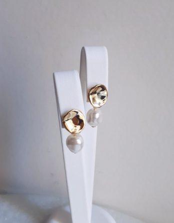 Julie - Boucles d'oreilles clous minimaliste avec perles baroques swarovski