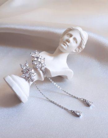 Milia - Boucles d'oreilles mariée feuillage zircon style moderne et élégante chic