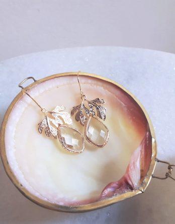 Thea - Boucles d'oreilles mariage pendantes feuilles et gouttes cristal