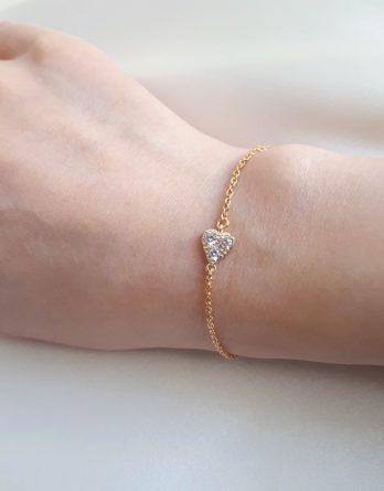 Elise - Bracelet cœur doré à l'or fin 24K avec 3 zircons