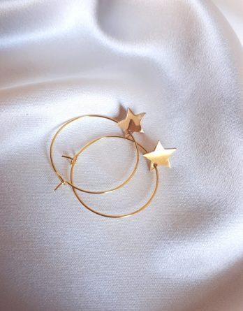 Amélie - Boucles d'oreilles créoles étoiles