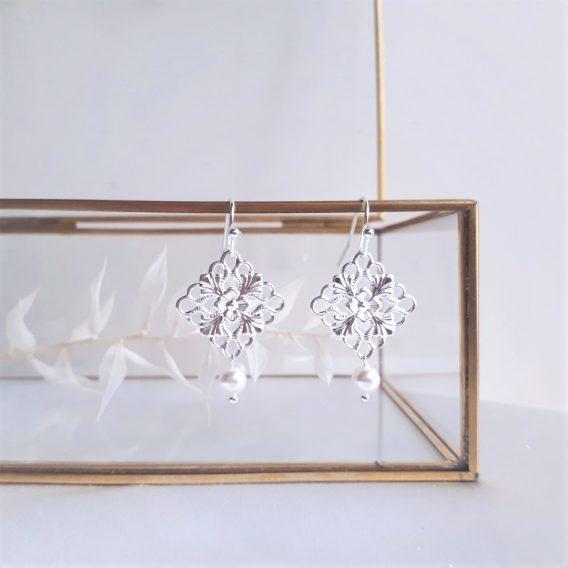 Novel - Boucles d'oreilles d'oreilles demoiselles d'honneur avec perles swarovski