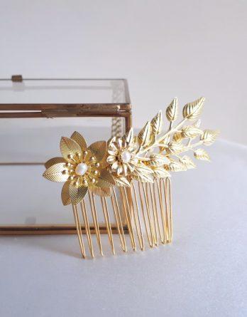 Lyse – Peigne de mariée feuillage et fleurs délicates avec perles d'eau douce