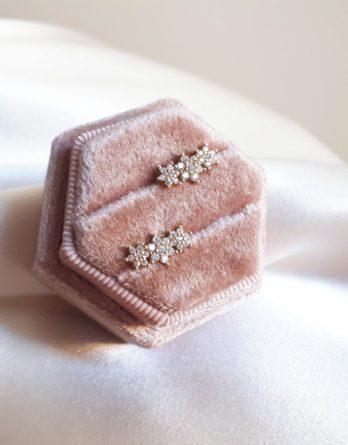 Marie - Boucles d'oreilles clous fleurs en argent 925, plaqué Or, Plaqué Or rose avec zirconium