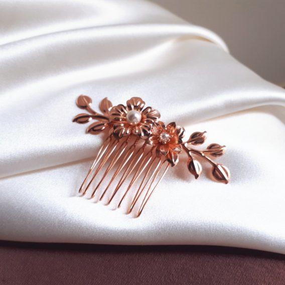Nina - Peigne de mariée feuilles et fleurs délicates avec perles swarovski
