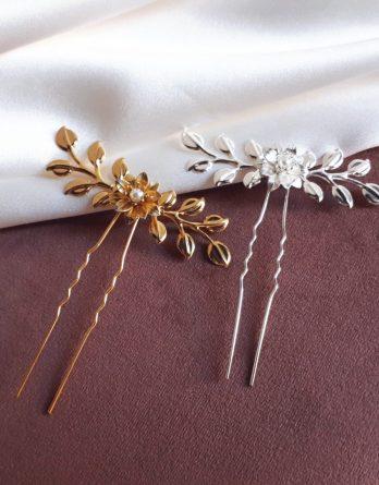 Romy - Pic à cheveux feuilles et fleurs délicates avec perles swarovski