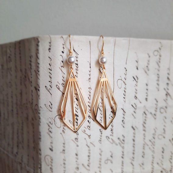 Art déco - Boucles d'oreilles pendantes plaque Or 24K avec perles swarovski