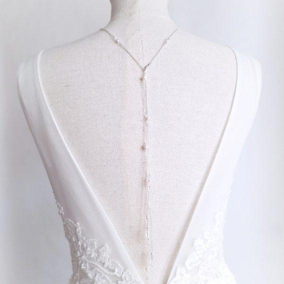 Aurore - Collier bijou de dos mariage plaqué argent 925 avec perles swarovski