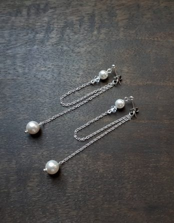 """Boucles d'oreilles mariage argentée """"Aimee"""" avec perles swarovski"""