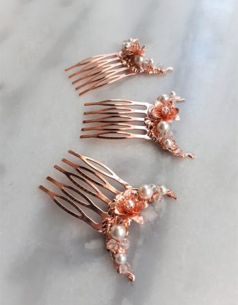 "Set de 3 peignes mariage ""Heloïse"" fleurs dorées rose avec perles swarovski"