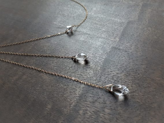 Collier bijou de dos ou collier lariat «Yaël» argent 925 ou gold filled 14k avec perles swarovski