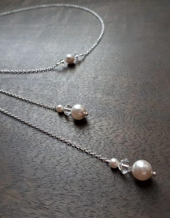 "Collier bijou de dos mariage ""Crystal"" chaîne argenté avec perles swarovski"