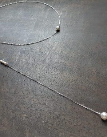 "Collier avec bijou de dos mariage ""Edith"" avec perles swarovski"