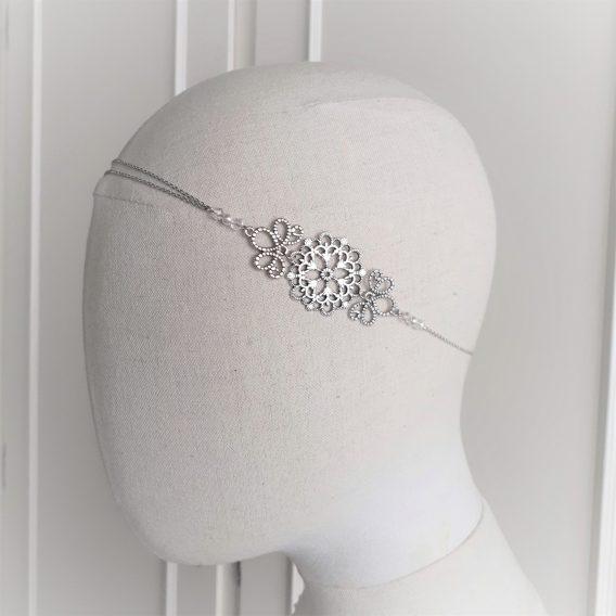 "Headband mariage ""Emma - 3"" avec perles swarovski,"