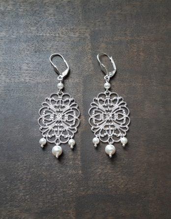 Iris - Boucles d'oreilles mariage avec perles swarovski