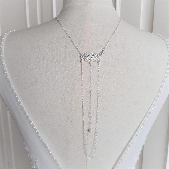 Anaïs - Collier bijou de dos mariage avec perles swarovski