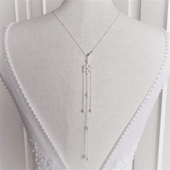 Rosalia - Collier avec bijou de dos mariage avec perles swarovski
