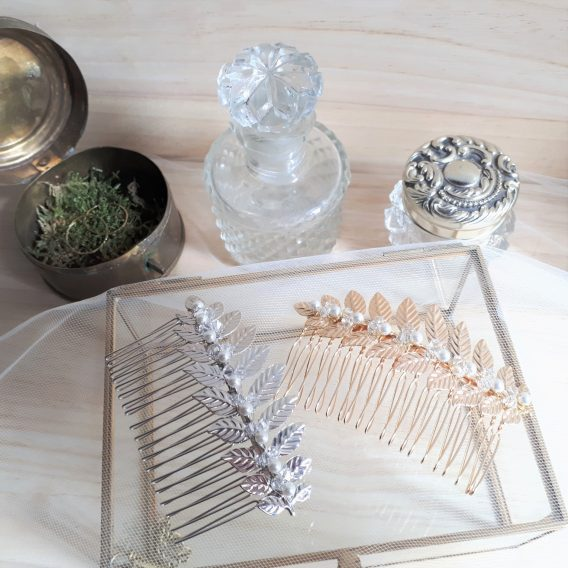 Sabrina - Peigne de mariée feuilles avec perles swarovski