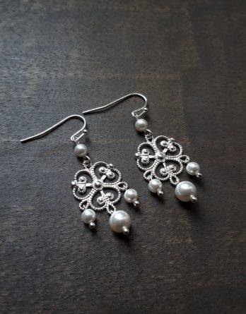 Rosalia - Boucles d'oreilles mariage avec perles swarovski