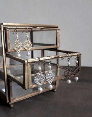Elena - Boucles d'oreilles mariage avec perles swarovski