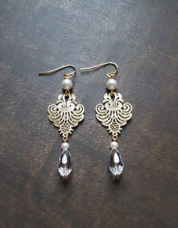 Louise - Boucles d'oreilles mariage avec perles swarovski