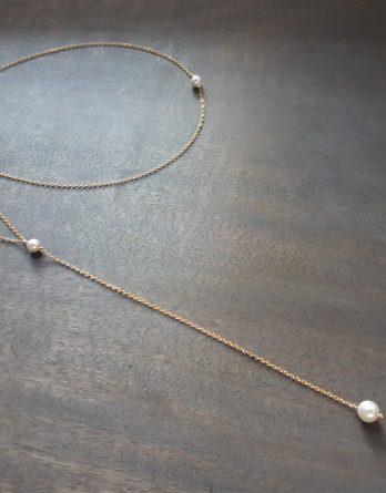 Lou - Collier bijou de dos pour mariage avec perles swarovski